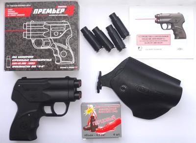 Аэрозольный 4-х зарядный пистолет Премьер-4 с кобурой